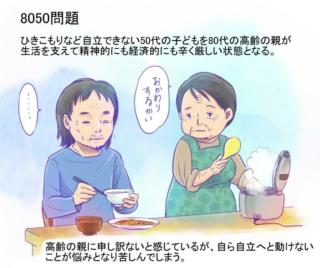 8050問題,食事する母子